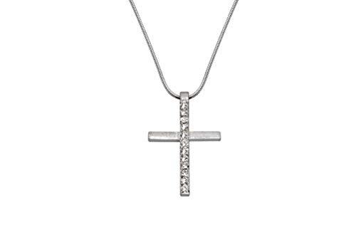 Perlkönig Kette Halskette | Damen Frauen | Silber Farben | Kreuz Anhänger | Glitzer Steine | Nickelabgabefrei