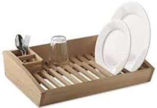 ETROVES Flat Wooden Dish Drying Rack - Handmade Wood Carved Kitchen Plate-Utensils Organization-Holder Compact Adjustable Drainer for Sink Display - Simple Human Side Drain Fits in Sink