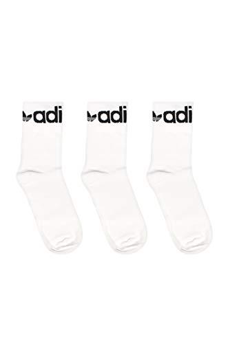 adidas Fold Cuff CRW Calcetines, Blanco/Negro, L Unisex Adulto