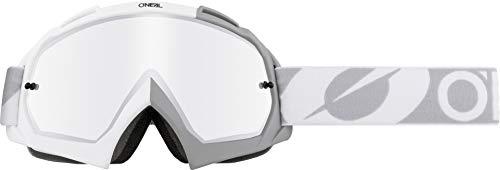 O'Neal | Gafas de Motocross | MX MTB DH FR Downhill Freeride | Lentes 3D de 1,2 mm de alta calidad para la máxima claridad, protección UV | Gafas B-10 | Unisex | Espejo Blanco Gris | Talla Única