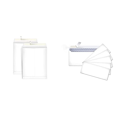 Amazon Basics Catalog Mailing Envelopes, Peel & Seal, 9x12 Inch, 100-Pack, White & #10 Security-Tinted Envelopes with Peel & Seal, White, 500-Pack