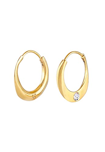 Elli PREMIUM Pendientes Pendientes de aro minimalistas para mujer con cristales de plata esterlina 925 bañada en oro