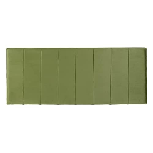 Cabecero tapizado Franjas de Terciopelo Verde para Cama de 135/150 cm - LOLAhome