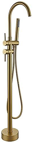 WLALLSS Grifo bañera Independiente Oro Cepillado, grifos mezcladores bañera, Grifo Ducha con caño Redondo Independiente montado en el Suelo