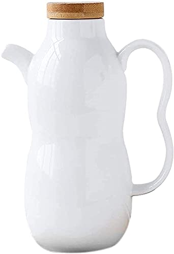Botella del dispensador de aceite y vinagre. Ollas de vinagre de aceite vintage de cerámica, botella de aceite con tapa de madera, vinagrera de vinagre de salsa de soja, recipiente dispensador de cond