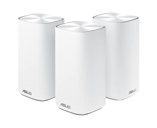 Asus Ai Mesh System ZenWiFi AC Mini CD6 Weiß (3in1 Mesh Zugangspunkte-Set, AC1500 WiFi 5, 3x Gigabit LAN, App Steuerung, unterbrechungsfreies Roaming, AiProtection)