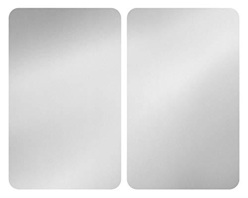 WENKO Set van 2 kookplaten, universeel, zilverkleurig, set van 2, kookplaatafdekking voor alle soorten fornuizen, gehard glas, 30 x 52 cm, zilver