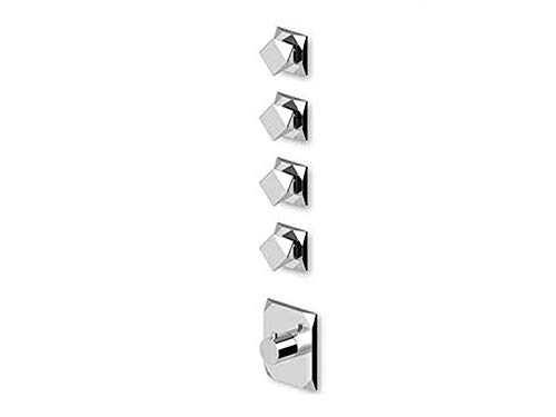 Best Price! Zucchetti Wosh thermostatic shower mixer with 4 stop valves ZW5662-Chrome