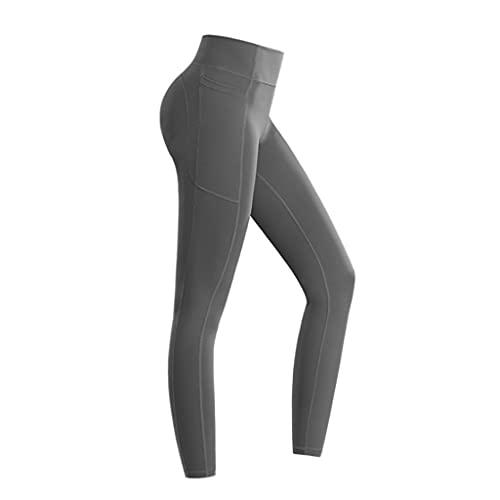 QIFFIY Pantalones de Yoga Pantalos Aptitud Deportes Lado Bolsillos Laterales Hip-Levantamiento Ajustado Estiramiento Secado rápido Running Pantalones de Yoga de Alta Cintura para Mujer