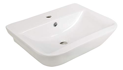 'aquaSu® Handwaschbecken leNado, 55 cm breit, Waschtisch in eckiger Form, Waschbecken in weiß