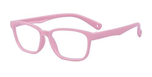ALWAYSUV Blaulicht-Schutzschild Computer-Lese-Brille für Kinder Anti-Blaulicht 90% UV-Schutzbrille Rosa Rahmen