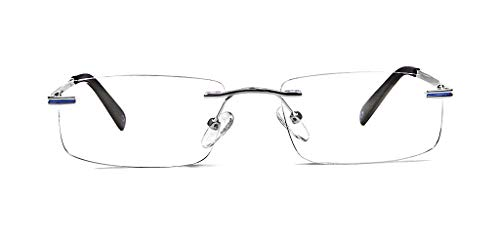 SPECSMAKERS Unisex Lightanium Silver Rimless Rectangular Eyeglass Frame (Silver, 52 mm - Large)