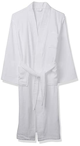 Acanva Women's & Men's Terry Robe Plush Cotton Spa Kimono Bathrobe, Large, White