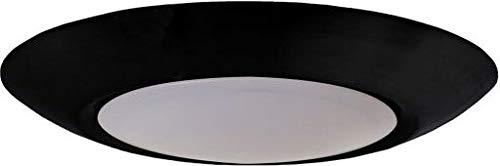 "Craftmade X9006-FB-LED JA8 Compliant LED Low Profile Flush Mount for Outdoor/Indoor/enclosed Shower Area, 1-Light 10 Watt, 1""H x 6""W, Flat Black"