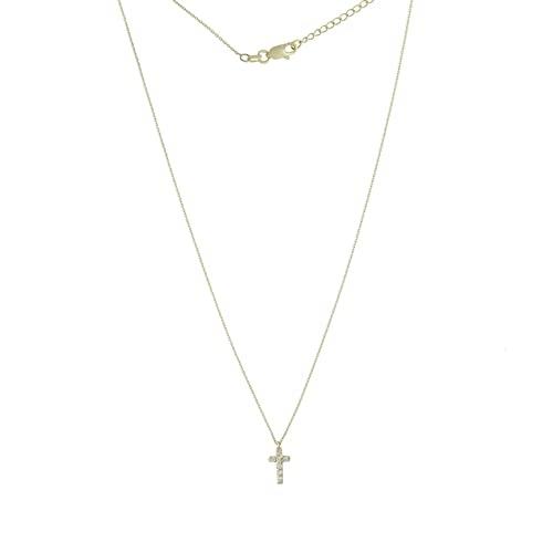 Collar ajustable de oro amarillo de 14 quilates con 7 diamantes de 07 tcw de diamantes pequeños religiosos con cruz de fe religiosa, regalo de joyería para mujeres – 46 centímetros