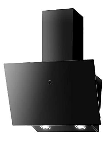 PROKIRA® DH60GB-02-DELUXE Wandhaube Kopffreihaube Schwarz 60 cm Abluft Umluft Dunstabzugshaube 600m³/h LED Glas Touch Bedienung