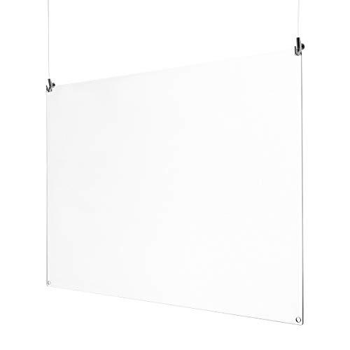 Spuckschutz zum Aufhängen aus Acrylglas inkl. 2x 2m Seil und 2 Haken quer oder hoch Virenschutz, Hustenschutz 75 x 50 cm