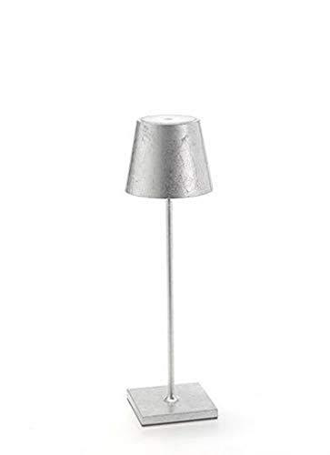 Zafferano Poldina-Wiederaufladbare LED-Tischleuchte, Dimmbar, Aluminiumgehäuse, Schutzart IP20, für Innenbereich Geeignet, EU-Stecker, Batterielebensdauer 9+ Stunden-Silber