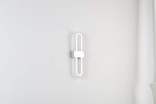 Yafido Lámpara de pared LED de 12 W, regulable, para interior, 2700 – 6000 K, con mando a distancia, 750 lm, acrílico, iluminación de pared blanca cálida/fría, AC230 V, moderna plata cepillada, 29 cm