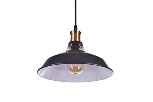 Crown - Lámpara de techo colgante LED (E27, 1,5 m de cable de tela, 1 bombilla Edison regulable), diseño vintage, color negro