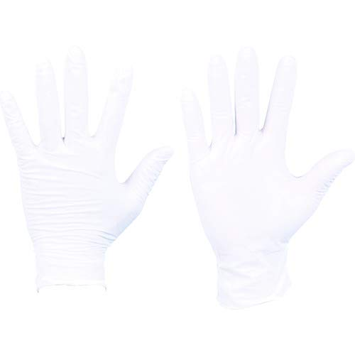 TRUSCO(トラスコ) ニトリル 使い捨て 極薄 手袋 L ホワイト 白 粉付 0.1 100枚 DPM6981NL L