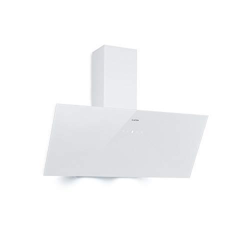 Klarstein Laurel 90 Dunstabzugshaube, Kopffreihaube, 90 cm, Abluftleistung: 350 m³/h, EEK: B, LED-Kochfeldbeleuchtung, Touch-Panel, Fettfilter aus Aluminium, leise 64 dB, Umluftbetrieb möglich, weiß