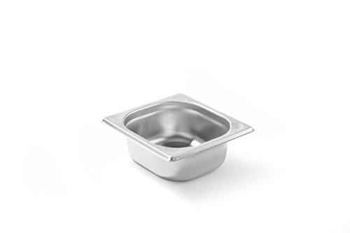 HENDI Gastronormbehälter, Temperaturbeständig von -40° bis 300°C, Heissluftöfen-Kühl- und Tiefkühlschränken-Chafing Dishes-Bain Marie, Stapelbar, 1L, GN 1/6, 176x162x(H)65mm, Edelstahl