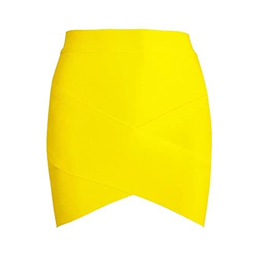 Falda de tulipán para Mujer Falda Corta Liviana Elegante de Color sólido Falda de Tubo de Carrera de Oficina de Cintura Alta Simple Elegante