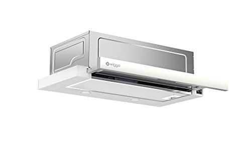 Wiggo Dunstabzugshaube 60cm WE-632R weiß I Flachschirmhaube für Abluft oder Umluft Dunstabzug 300m³/h mit LED-Beleuchtung I Einbau-Dunstabzugshaube inkl. Fettfilter & 2× Kohlefilter