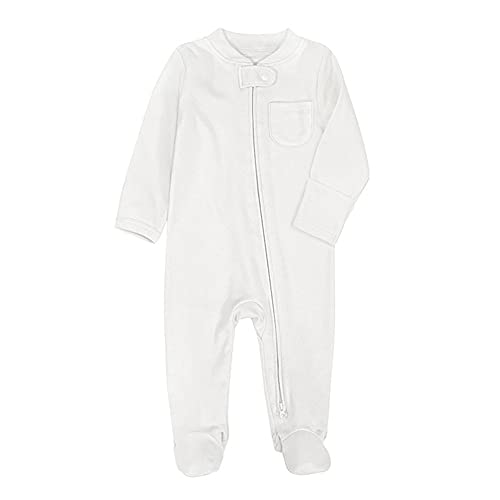 Baby Boys Girls Footed Pajamas with Mittens Cotton Long Sleeve 2 Way Zipper Romper Jumpsuit Sleep and Play 0-12 Months (White, 3-6 Months)