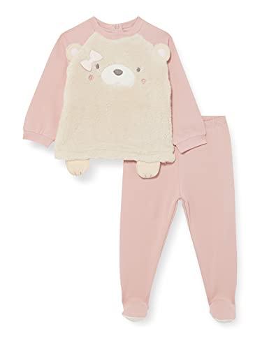 Chicco Completino Maglietta E Pantaloni In Felpa Elasticizzata Juego de Pijama, Rosa, 62 cm para Bebés
