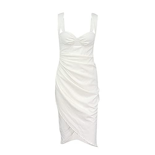 JFTMY Bankett Sexy Frauenkleider Solide Falten Split Hosenträger Mitte Rock Kleid Abendkleid Elegante dünne Damen Kleidung (Color : White, Size : Lcode)