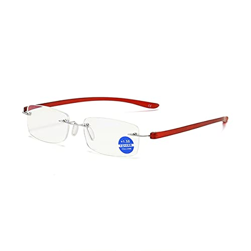 HAOXUAN Gafas de Lectura Moda sin Montura Gafas de Bloqueo de luz Azul Lector de computadora Hombres y Mujeres Gafas antifatiga Dioptrías +1,00 a +3,00,Rojo,+3.00