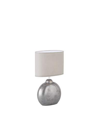 Fischer & Honsel Tischleuchte 1x E14 max.40W Keramik grau/metallic, Schirm hellgrau, 50243