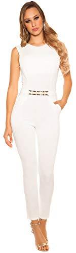 Elegante ärmellose Overalls in versch. Styles und Größen, ärmellos Jumpsuit Hosenanzug Business Büromode Abendmode Damen (K6721 FT Creme XL)