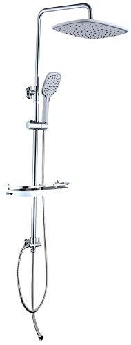 JOHO Duschsystem Duschset Regen dusche mit ABS-Kopfbrause 26x20cm und Ablage