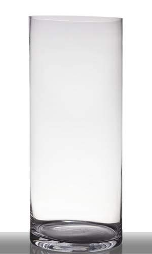 INNA-Glas Jarrón de Suelo Sansa, cilíndrico - Redondo, Transparente, 60cm, Ø 25cm - Florero de Cristal - Jarrón de pie