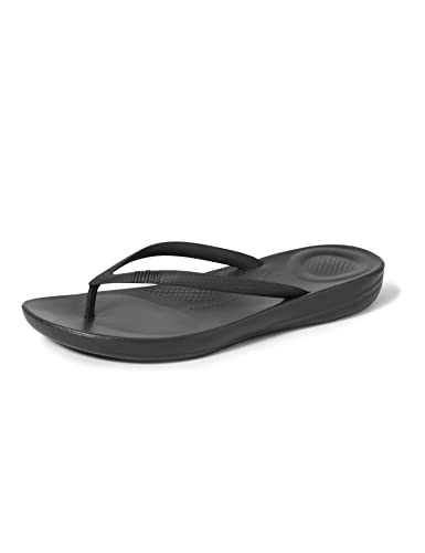 fitflop Women's IQUSHION FLIP Flop-Solid, All All Black, 6 M US