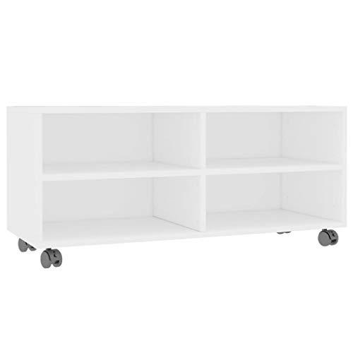 vidaXL Mueble para TV con Ruedas Aglomerado Blanco 90x35x35cm Mobiliario Hogar Accesorios Centro Entretenimiento y Multimedia Diseño Moderno Práctico