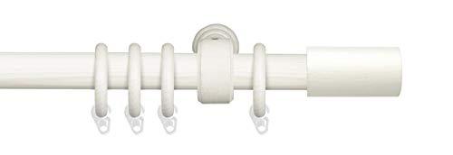 Liedeco Gardinenstange Vorhangstange Stilgarnitur Komplettgarnitur Terra Zylinder | Holz | weiß, grau | 28 mm Ø (kalkweiß, 240 cm)