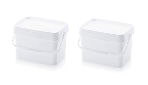 2x Eimer 20l rechteckig * 20 Liter * lebensmittelecht stapelbar Kunststoffeimer 20Liter weiß Farbe Futter Gastro Catering