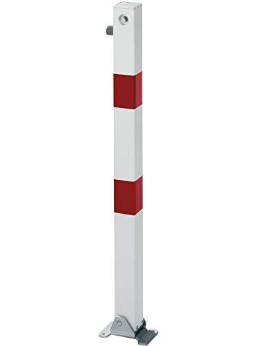 GAH-Alberts 780784 Absperrpfosten Klappy - umlegbar, zum Aufschrauben, mit Dreikantschloss, feuerverzinkt, weiß mit roten Ringen, 70 x 70 / 1000 mm