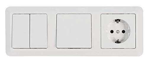 MC POWER 1534719 McPower CUP Wandstopcontactenset met kinderbeveiliging | 3-voudig deur | 4-delig | wit