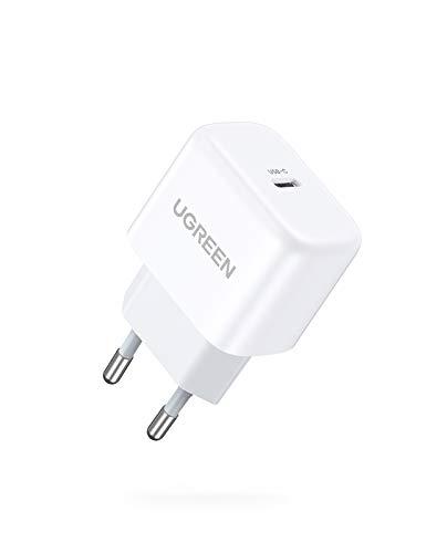 UGREEN 20W Cargador USB C Power Delivery 3.0, Mini Cargador Carga Rápida USB C para iPhone 12 Pro Max Mini Se 2020 11 Pro Max X iPad Pro iPad Air, AirPods Pro, Cargador Móvil QC 3.0 para Samsung S10