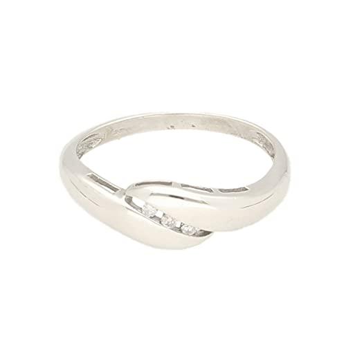 Anillo de oro blanco de 9 quilates con diamantes de 0,05 quilates (talla M 1/2) 6 mm de ancho, anillo de lujo para mujer