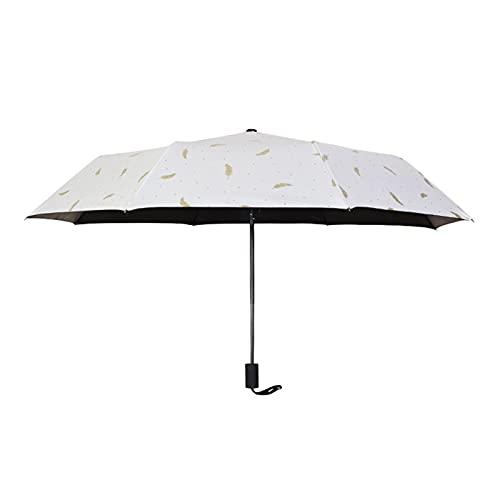 EFGUFHC Regenschirm schwarzer Plastik Sonnencreme Regenausrüstung für sonnige und regnerische Dreifache Regenschirm Sonnenschirm-Werbung-Regenschirm (Color : Feather White)