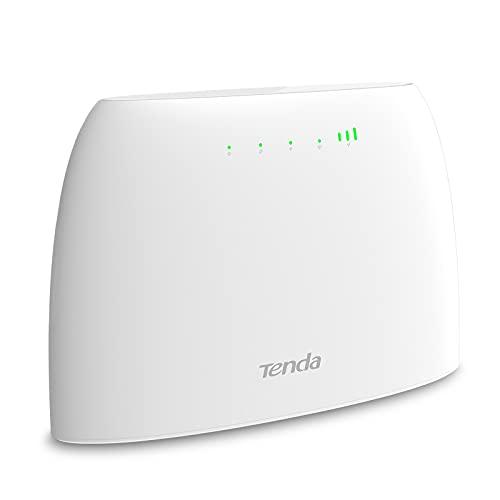 Tenda 4G03 Wi-Fi Router 4G LTE 300 Mbps, Banda Wireless 2.4 GHz, Controllo Genitori, Monitoraggio Del Traffico Dati, Porta LAN / WAN, Con Slot Per Scheda SIM, Accesso Wi-Fi Fino A 32 Dispositivi