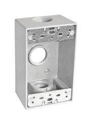 Sealproof 1-Gang 3 Hole 3/4-Inch Weatherproof Rectangular Horizontal Electrical Outlet Box with Three 3/4
