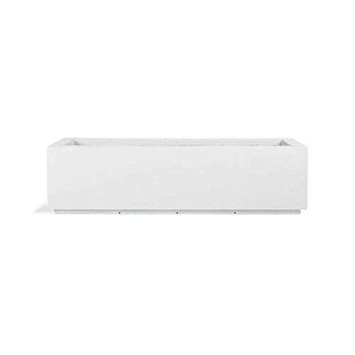 PolyStone Riviera Short Modern Outdoor/Indoor Rectangular Planter, Lightweight, Heavy Duty, Weather Resistant, Polymer Finish, Commercial Grade and Residential, 46' L x 17' W x 12' H (White)