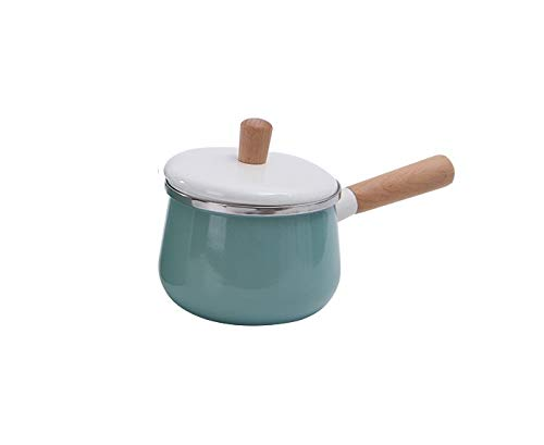 Adoolla Hogar Cocina Antiadherente Olla Esmalte Mango de Madera Para Cocinar Alimentos Complementarios Leche Utensilios de Cocina Azul Una olla de 14cm